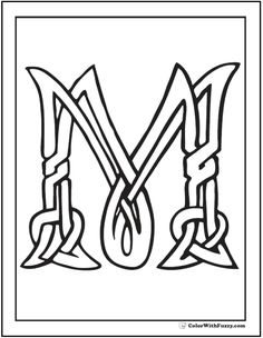 Fuzzy has scores of Irish and Scottish Celtic coloring pages with Celtic knot designs - the coolest tangles. PDF Celtic printables: crosses, geometric, animals, birds, and hearts. Celtic Symbols, Celtic Art, Coloring Book Pages, Printable Coloring Pages, Celtic Alphabet, Gothic Lettering, Celtic Knot Designs, Fancy Letters, Celtic Patterns