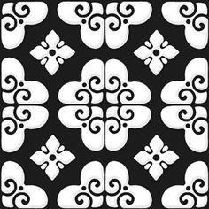 Bon Ton - White on Black - Porcelain Tile