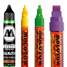 Molotow ONE4ALL Paint Pens are a refillable, versatile, highly pigmented, solvent free, acrylic based paint marker that will give a solid cover on virtually any surface.    These Paint Pens are suitable for indoor and outdoor use and can be used on paper, card, canvas, plastic, glass, metal, fabric, photographs, etc. In the Molotow range there is an Extra Fine 1mm Nib, 2mm & 4mm Bullet Nib & a 15mm Chisel Tip.    These Paint Pens are quick drying with a silk matt finish.