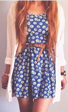 #Absolutely in love with this blue floral dress with the brown belt around the #waist and the white cardigan.