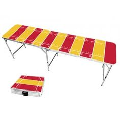 Yellow Gold & Red Football Field 8 Foot Portable Folding Tailgate Beer Pong Table from TailgateGiant.com