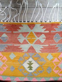 Sunset Diamond Vintage Turkish Kilim Rug by chezboheme on Etsy