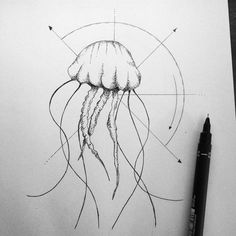 Geometric jellyfish #art #illustration #tattoo #minimalist #drawing #dotwork #jellyfish #ink