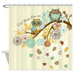 Gatterwe: Autumn Owl Shower Curtain: Owl always love you! Cute autumn owls sitting on a branch! Colorful leaves fall from the tree! Artwork by GraphicMarket! Owl Room Decor, Owl Bathroom Decor, Owls Decor, Bathroom Ideas, Owl Decorations, Bathroom Plans, Downstairs Bathroom, Owl Bedrooms, Owl Shower