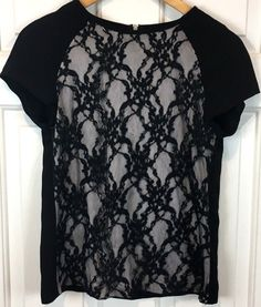 3bffde4df81b7 16.19 ❤ Zara Womens Embroidered Crocheted Lace Front Shirt Top Short Sleeve Size  M 6