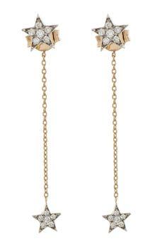 Heroine 2 Star White Diamond Stud Earrings With Chain