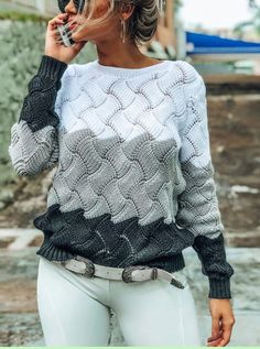 New Women Winter Long Sleeve Crewneck Knitted Pullover Sweater Vintage Splice Pullover Jumper online - Amazingtrendyus Casual Sweaters, Casual Tops, Pullover Sweaters, Fall Sweaters, Vintage Crewneck, Winter Fashion Casual, Winter Style, Winter Wear, Long Sleeve Sweater