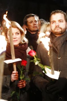 A beautiful picture from a tragic event: Crown Prince Frederik midst of the people, as the entire Denmark commemorating the victims of the Copenhagen attacks February 14, 2015. In front: MP Johanne Schmidt-Nielsen and Minister for Economic and Interior Affairs Morten Østergaard.