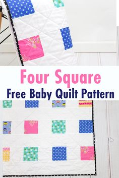 Sewing Gifts Make this easy baby charm pack quilt pattern in a day. This free baby quilt pattern comes together quickly and is perfect for showcasing your favorite prints! The four square baby quilt pattern will be a much-loved gift! Free Baby Quilt Patterns, Charm Pack Quilt Patterns, Charm Pack Quilts, Sewing Patterns Free, Free Sewing, Baby Sewing, Easy Sewing Projects, Sewing Projects For Beginners, Quilting Projects
