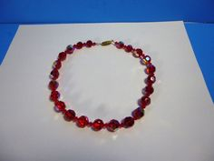 "VINTAGE FACETED RUBY RED ROUND GLASS BEADED SILVER TONE CHOKER NECKLACE 16""LONG #Unbranded #StrandString"