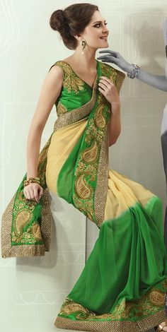 $84.61 Yellow and Green Embroidered with Stone Work Saree 22806