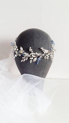 Blue Bridal hair piece, Bridal head piece with blue accent, Something blue, Wedding hair piece, Wedding head piece, Wedding headpiece