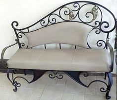 Wrought Iron Furniture, Chairs and Benches, Modern Interior Decorating Ideas - wrought iron bench with soft cushion Might look nice with my new bed? Wrought Iron Bench, Wrought Iron Decor, Wrought Iron Gates, Iron Furniture, Home Furniture, Furniture Chairs, Wooden Furniture, Furniture Ideas, Furniture Design