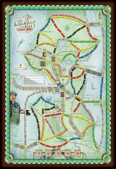 Print 'n Play Games & Redesigns BoardGameGeek Ticket to Ride- Emerald City Love Games, Games To Play, Pnp Games, Board Games, Game Boards, Modern Games, Ticket To Ride, Emerald City, Game Design