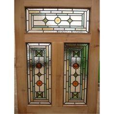 Victorian Edwardian 5 Panel Original Stained Glass Exterior Door National Trust / Farrow & Ball