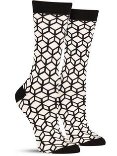Mix up your classic black work socks with this geometric alternative: black and white cube-patterned socks that M.C. Escher would love. And outside the office, can you picture these with some Mary Jan