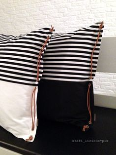 b/w-pillow-cases with leather string by stefi_licious