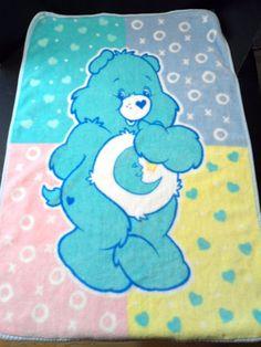 Care Bears Blanket Blue Bedtime Bear Baby Throw X's O's Kiss Hug Moon Toddler #CareBears