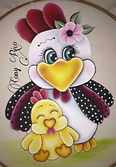 Cristina Fona's media statistics and analytics Tole Painting, Fabric Painting, Painting On Wood, Chicken Crafts, Chicken Art, Cony Rico, Crafts To Make, Arts And Crafts, Chicken Painting