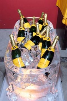 Ice sculpture with Vueve Clicquot champagne