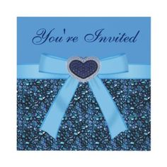 Shop Blue Gem Stones, Bow & Heart Jewel Invites created by GroovyGraphics. Invites, Party Invitations, Bling Party, Heart Decorations, Blue Gemstones, Grad Parties, Youre Invited, Event Decor, White Envelopes