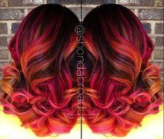 "Spectacular color design by Shonda Broadus. She calls her masterpiece, ""Desert Sunset."" red hair instagram.com/hotonbeauty #hotonbeauty"