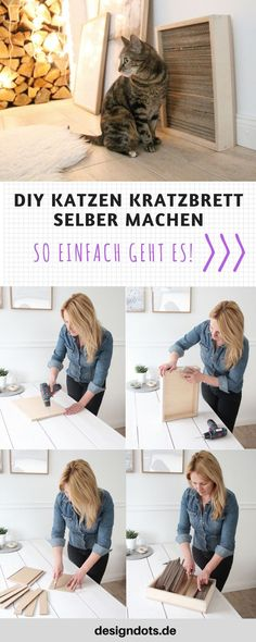 Make DIY cat scratching board yourself - DESIGN DOTS - DIY DIY scratch board make your own DIY cool cat furniture; Make cat furniture yourself, cat furnit - Diy Cat Bed, Cats Diy, Diy Bed, Lit Chat Diy, Cheap Furniture Online, Cat Basket, Dog Furniture, Cat Wall, Cat Scratching