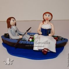 Wedding cake topper / figurines mariage personnalisées - en kayak