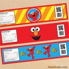 elmo water bottle labels FREE Printable Elmo Sesame Street Water Bottle Labels