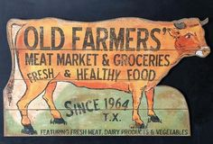"""""""Old Farmers Market"""" Wall Decor - From Antiquefarmhouse.com - http://www.antiquefarmhouse.com/current-sale-events/farmers-market4/cow-wall-decor.html"""
