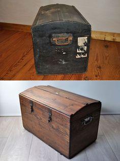 Avant | Après. ancienne malle de voyage en bois Reuse, Painted Furniture, Storage Chest, Scandinavian, Craft Projects, Diy, Sport, Crafts, Home Decor