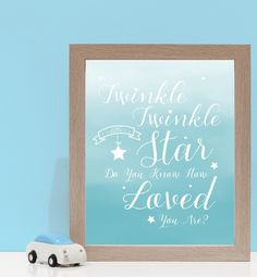 Twinkle Twinkle How Loved You Are in Blue. Kids wall art and wall prints.  Shop Love JK for nursery decor and nursery ideas.