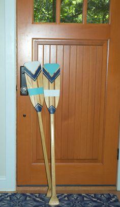 SET Hand Painted Decorative Canoe Paddle Oar by NewEnglandCanoeCo