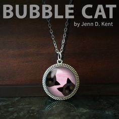 Two Black Peeking Cats Necklace with light pink background by Bubble Cat All illustrations by Jenn Kent Bubble Cat, Thing 1, Cat Necklace, Organza Gift Bags, Glass Domes, Pet Portraits, Bubbles, Fashion Jewelry, Illustrations