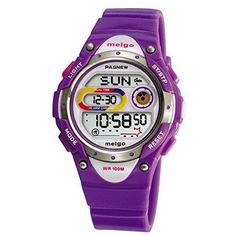 Pasnew LED Waterproof 100m Sports Digital Watch for Children Girls Boys Purple -- More info could be found at the image url.(This is an Amazon affiliate link and I receive a commission for the sales)