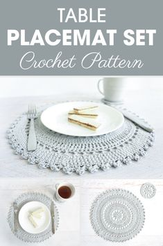 Crochet Tutorial Crochet Pattern - Table Placemat Set: The Table Placement Set includes an intricate crocheted placemat and coaster pattern. These delicate, lacy pieces are the perfect accent to that impressive feast you just prepared. Crochet Placemat Patterns, Crochet Doilies, Knitting Patterns, Crochet Gifts, Easy Crochet, Knit Crochet, Dishcloth Crochet, Crochet Coaster, Tutorial Crochet