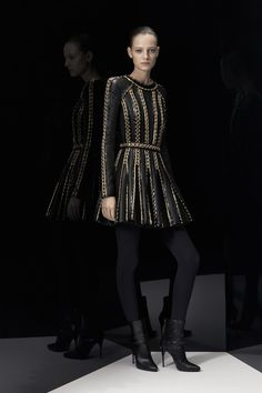 Pre-Fall '14 Balmain - Calvary military armor inspired - elongated limbs and defined waistlines. Beautiful dress and multiple textures with attention to detail