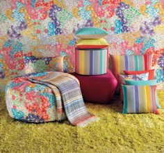"""MissoniHome 2016 """"FLORAL GALAXY"""" Surprise factor..... Overflowing floral patterns, shaded blooms, micro-macro bouquets. Vertical lines baiadera stripes, watercolour rainbow nuances."""