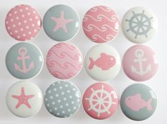 Pink Nautical Knobs Pink and Gray Nautical Drawer by LeilasLoft