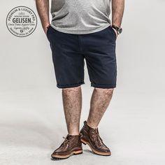 GELISEN brand men's large size tooling casual dark blue shorts summer high fat bear shorts