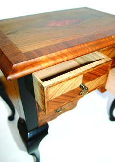 Dressing table (lowboy) with ebonized legs and marquetry shell decoration. Handmade by www.davidtowers.biz
