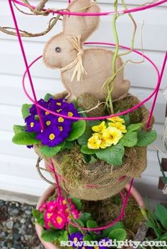 tomato cage craft projects | tomato-cage planter and sweet burlap bunny