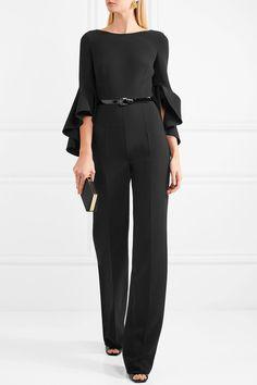 Michael Kors Collection - Belted Wool-blend Crepe Jumpsuit - Black