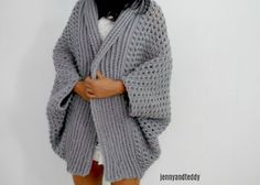 easy blanket crochet cocoon chunky cardigan