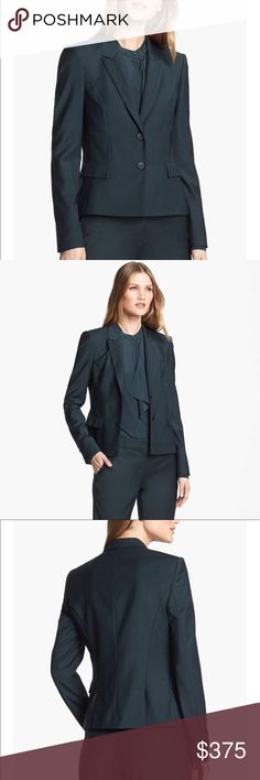"Hugo Boss Emerald Jilina Career Blazer Measurements ( across laying flat) Length: 25"" Waist: 16"" Armpit to Armpit: 18""  Very beautiful amazing quality authentic Hugo Boss women's blazer. MSRP $595 The perfect staple to any wardrobe! 🤓🤑 Nearly new! Absolutely no signs of wear.  **** Mint condition. There are no stains, holes or odors. **** Hugo Boss Jackets & Coats Blazers"