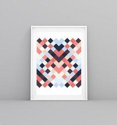 Coral, Geometric, Geometric Print, Modern Print, Colorful Print, Pattern Print, Boho Print, Mexican Art, Mexican Print, Digital Print