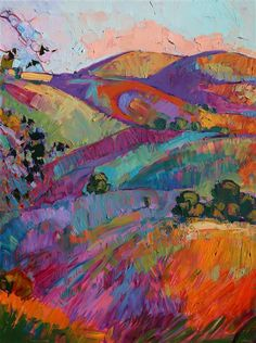 Panel 3: Paso Robles large tritpych oil painting landscape by modern impressionist Erin Hanson