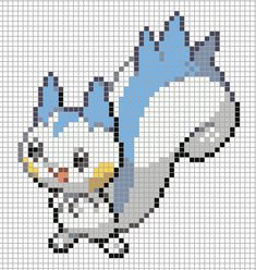 I do not take credit for this art I simply blew up the image and added the grid I do however take credit for recreating t. Hama Beads, Pokemon Perler Beads, Easy Pixel Art, Pixel Art Grid, Pixel Pokemon, Graph Paper Drawings, Pokemon Cross Stitch, Deadpool Pikachu, Minecraft Pixel Art