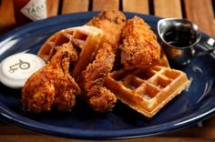 BOON FLY CAFE'S SIGNATURE DISH Fried Chicken + Waffles  Click for recipe!!