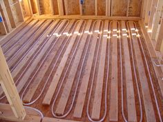 Wood Sleepers Nailed Dow To Give The Hardwood Floor Installer Something To Nail To. Heated Floor, Radiant Heating System, Heating And Plumbing, Building A Container Home, Radiant Floor, Underfloor Heating, Hardwood Floor, Heating Systems, Green Building